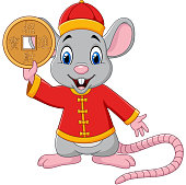 Vector illustration of Cartoon rat in chinese traditional costume holding gold coin. Chinese translation : Happy chinese new year