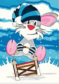 Vector Illustration of a Cute Cartoon Rat in Striped Wooly Hat on Sledge.