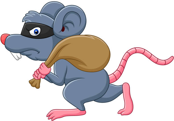 cartoon rat thief stealing on the bag and running - evil money stock illustrations, clip art, cartoons, & icons