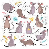 Vector illustration of funny rats in various poses and actions. Isolated on white.