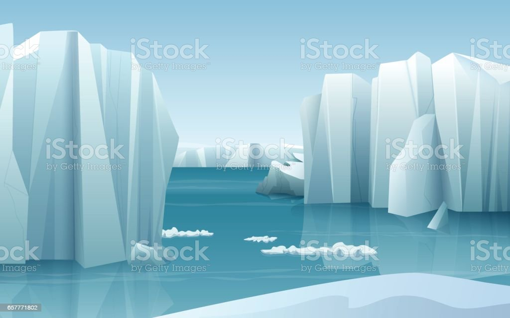 Cartoon realistic nature winter arctic ice landscape with iceberg and snow mountains hills vector art illustration
