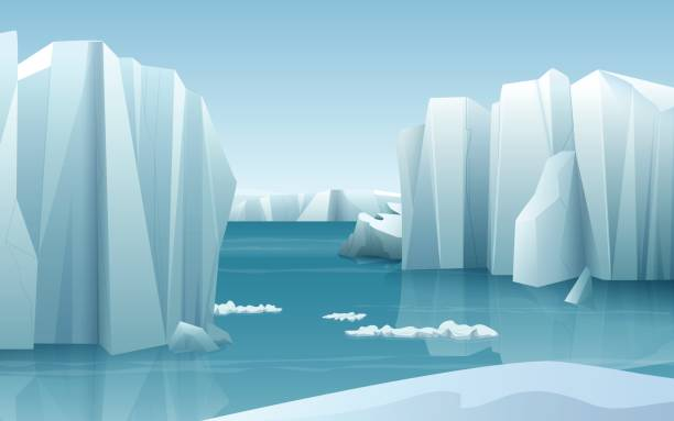 ilustrações de stock, clip art, desenhos animados e ícones de cartoon realistic nature winter arctic ice landscape with iceberg and snow mountains hills - clima polar