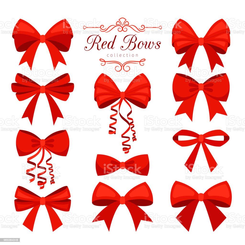 Cartoon red bow set cartoon red bow set - stockowe grafiki wektorowe i więcej obrazów akcesorium osobiste royalty-free