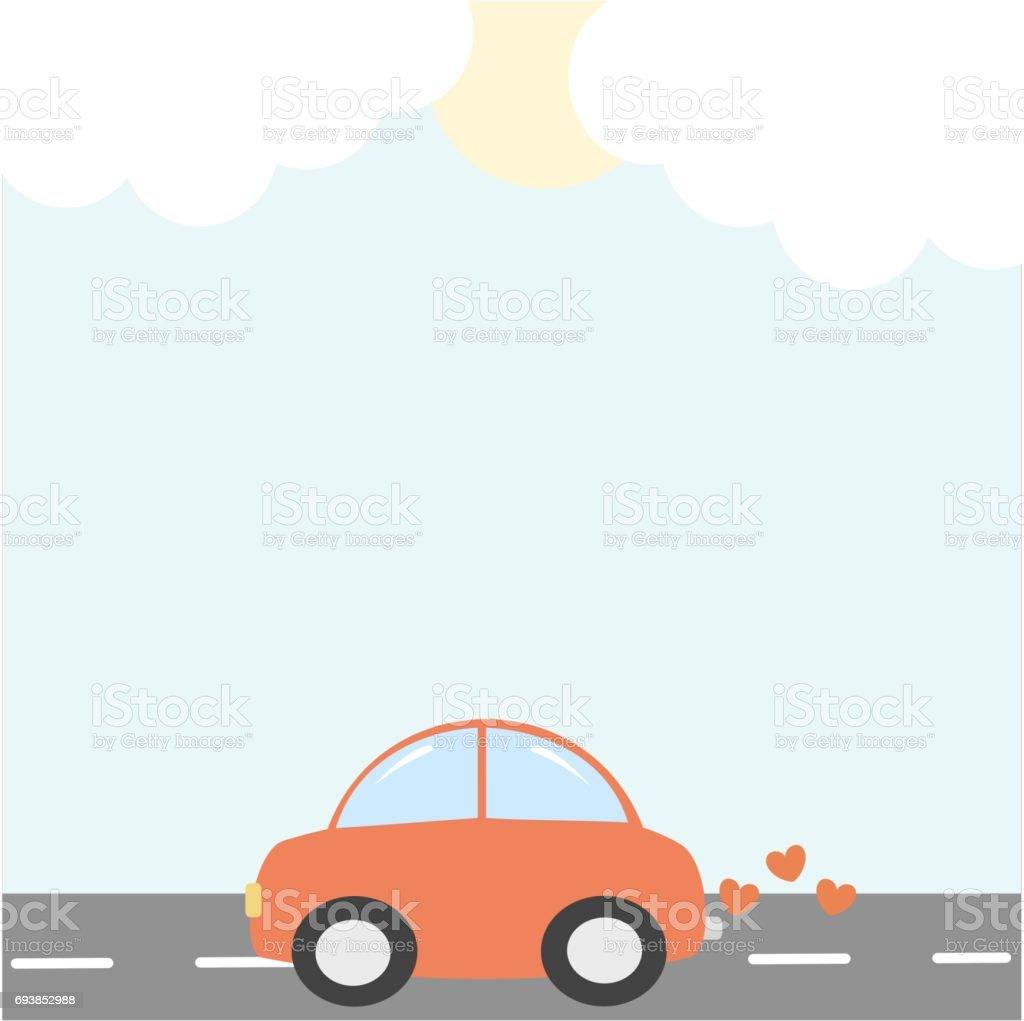 Cartoon Rote Auto Mit Herzen Rahmen Vektorgrafik Hintergrund Stock ...