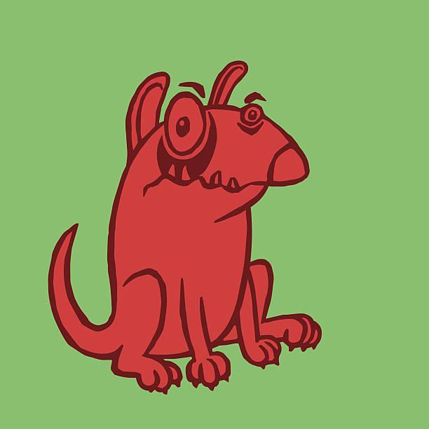 cartoon red dog  vector illustration - hundehaarbögen stock-grafiken, -clipart, -cartoons und -symbole