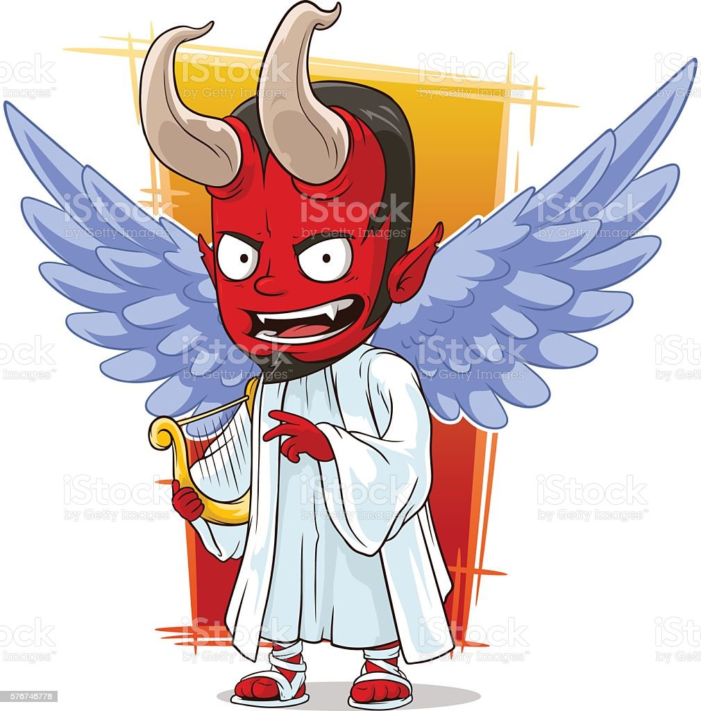 Cartoon Red Evil Angel Of Hell Lizenzfreies Cartoon Red Evil Angel Of Hell Stock Vektor Art