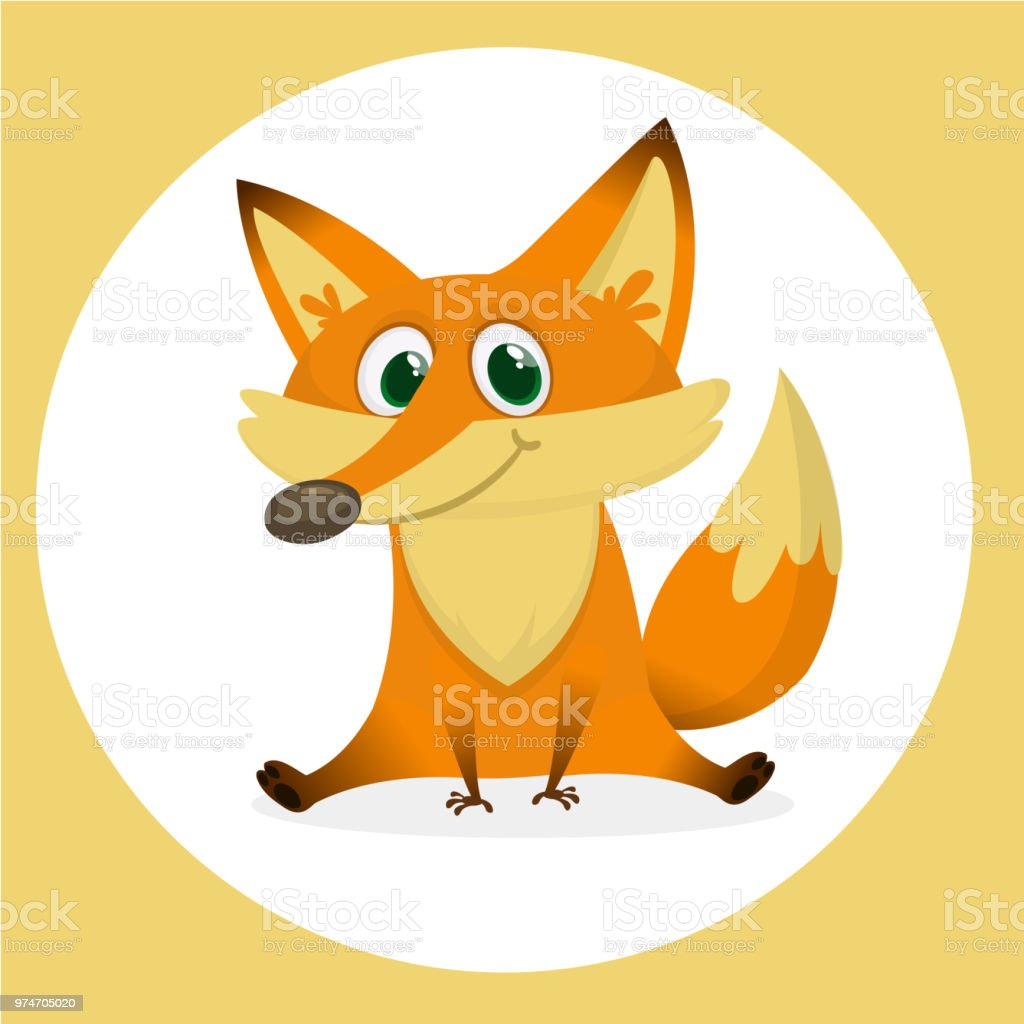 Renard Roux Personnage De Dessin Anime Vector Illustration Isole