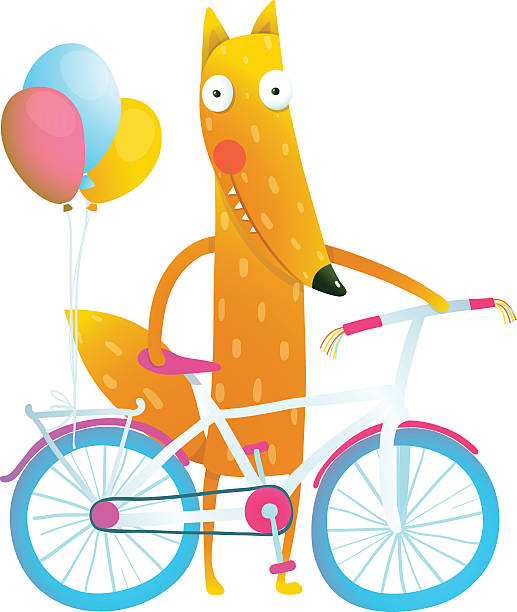 cartoon red funny fox with bicycle and balloons - lustige fahrrad stock-grafiken, -clipart, -cartoons und -symbole