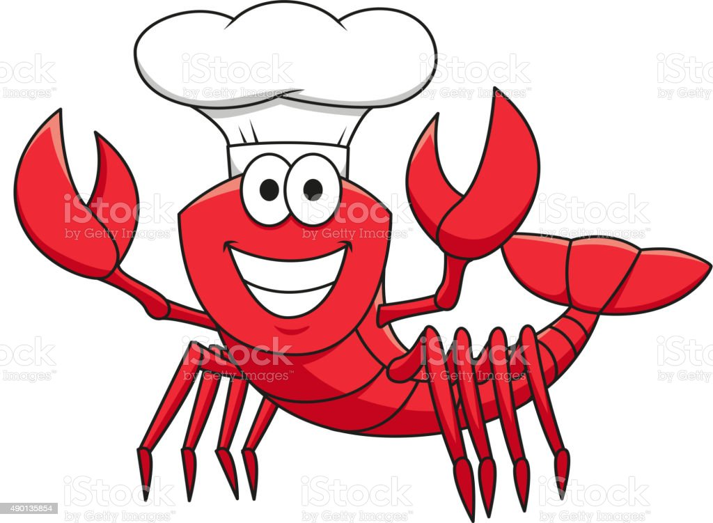 Cartoon red lobster chef in white cook hat vector art illustration