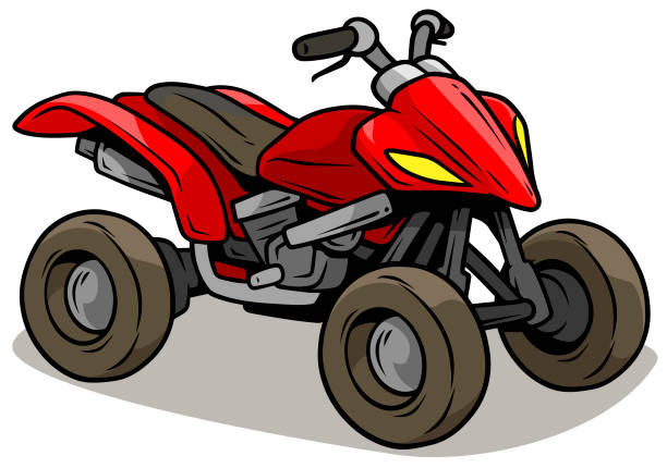 Cartoon red modern off road quad motorbike Cartoon red modern off road quad motorbike isolated on white background. Vector icon. quadbike stock illustrations