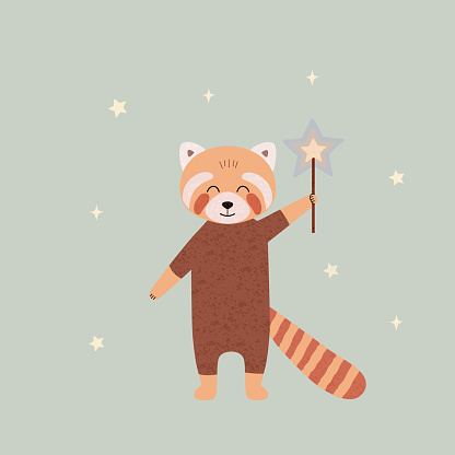 Cartoon red panda with a magic wand. Animal poster for nursery, greeting card design. Cute vector illustration