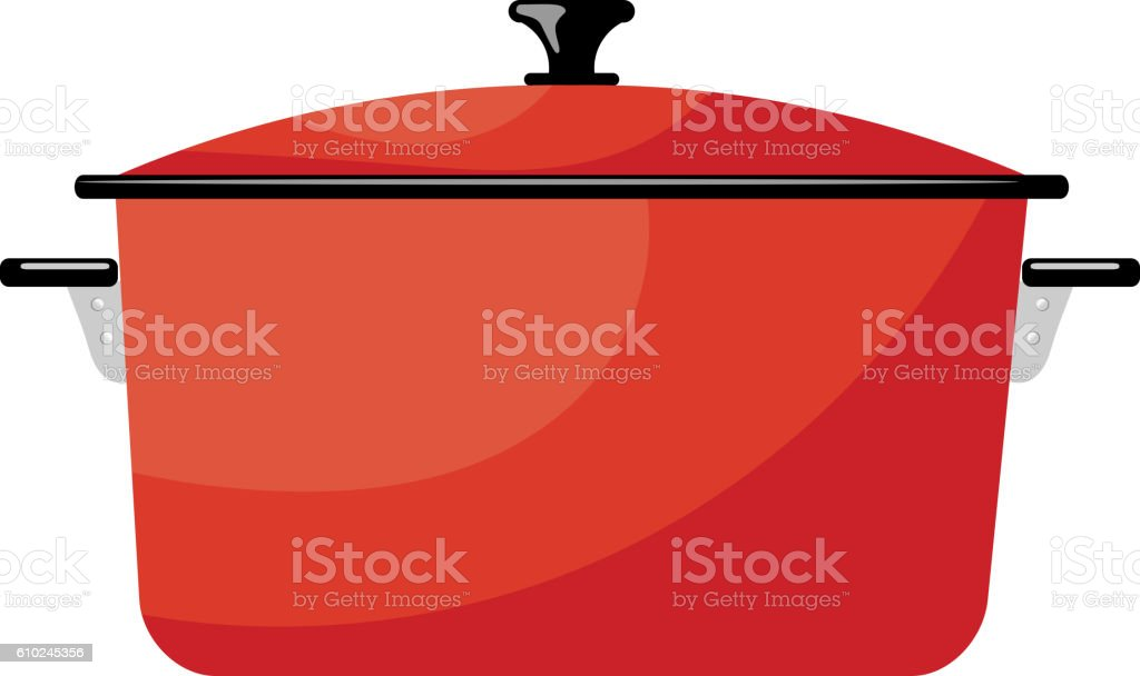 Cartoon Red Saucepan On A White Background. Kitchen Utensils. Royalty Free  Stock Vector