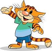 Cartoon red stripped cat.