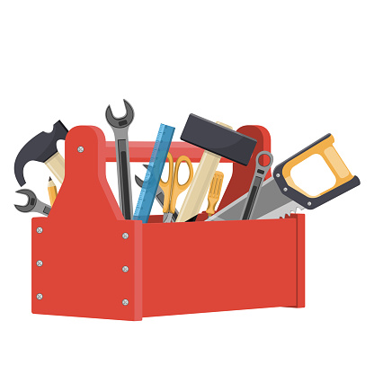 Cartoon red toolbox with saw, scissors, hammers, screwdriver, wrench ... . Vector illustration
