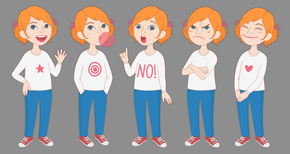 Cartoon redhead girl with pigtails full body portrait