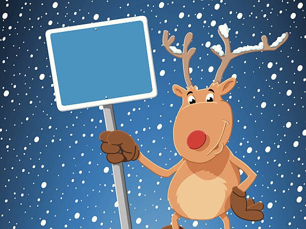 Cartoon Reindeer Blank Sign Snowing Winter Vector Illustration of a cute Cartoon Reindeer with a blank blue sign in front of a snowy sky. All objects are on separate layers. The colors in the .eps-file are ready for print (CMYK). Included files are EPS (v10) and Hi-Res JPG. cartoon people sign stock illustrations