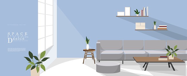 Cartoon relaxing blue space interior design, family relationship vector element