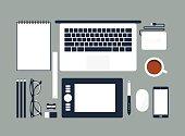 istock Cartoon rendering of an organized desktop with office tools 464560046