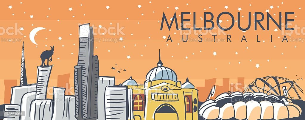 Cartoon rendering of Melbourne Australia at night vector art illustration