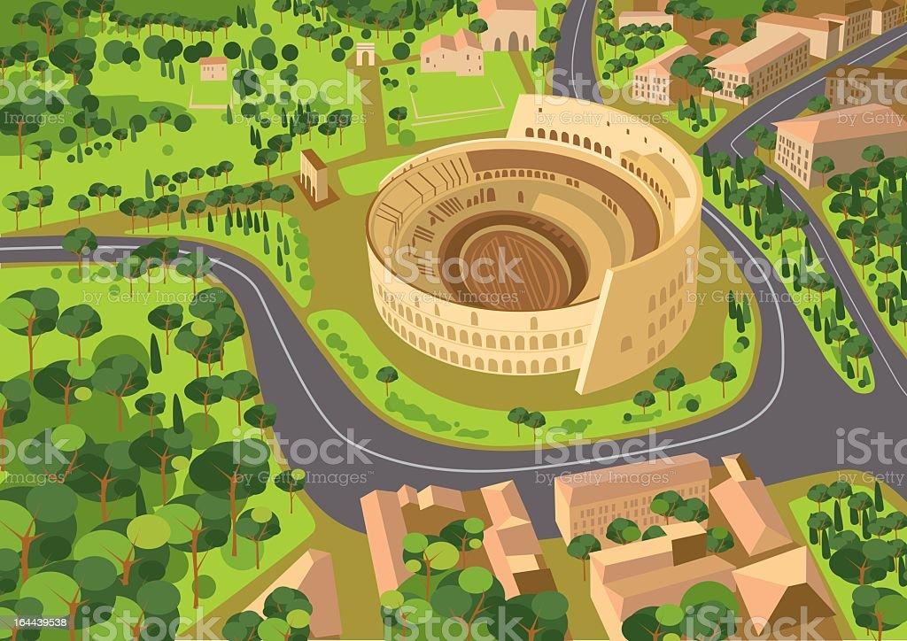 A cartoon replica image of the Coliseum in Rome vector art illustration