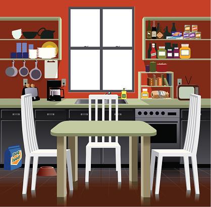 Cartoon representation of a kitchen