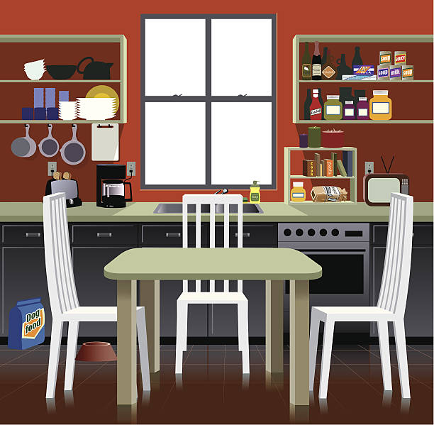 Cartoon representation of a kitchen Detail illustration of kitchen scene domestic kitchen stock illustrations