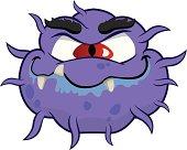 Cartoon representation of a microorganism virus, alien or monster