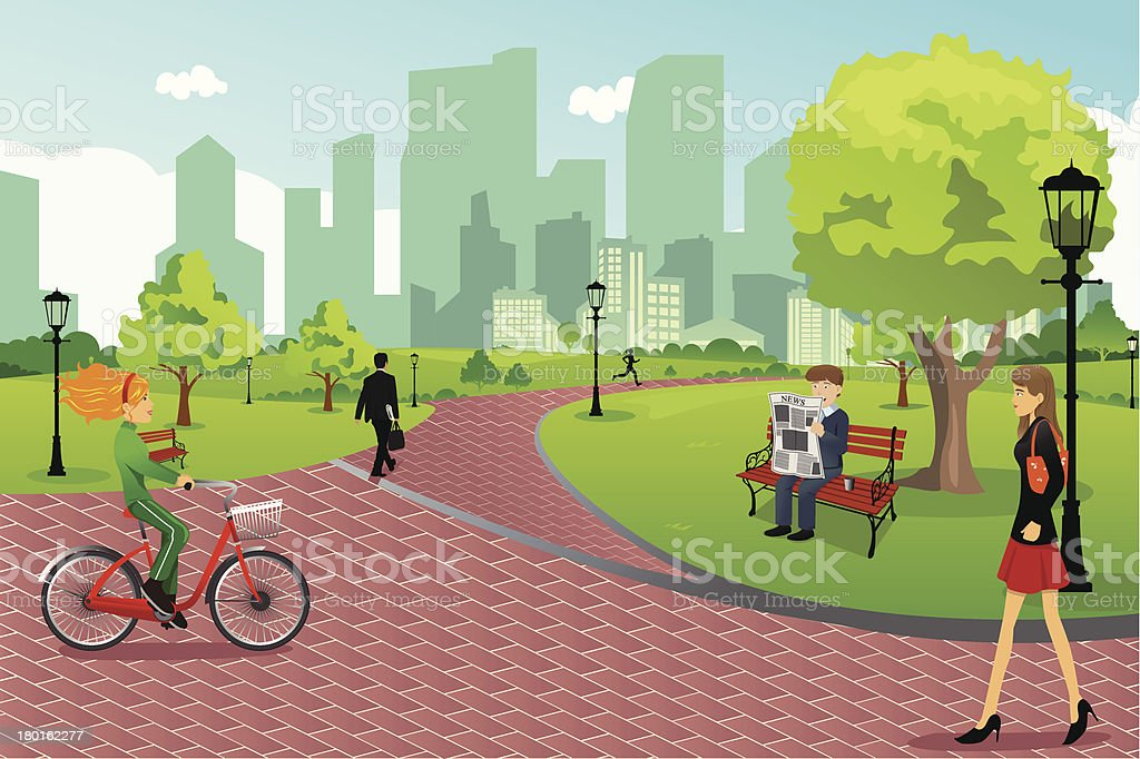cartoon representing people enjoying a day at the park stock vector