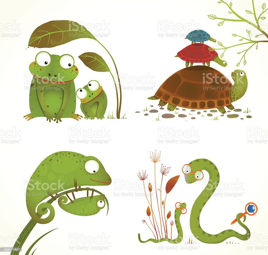 Cartoon Reptile Animals Parent with Baby Collection vector art illustration