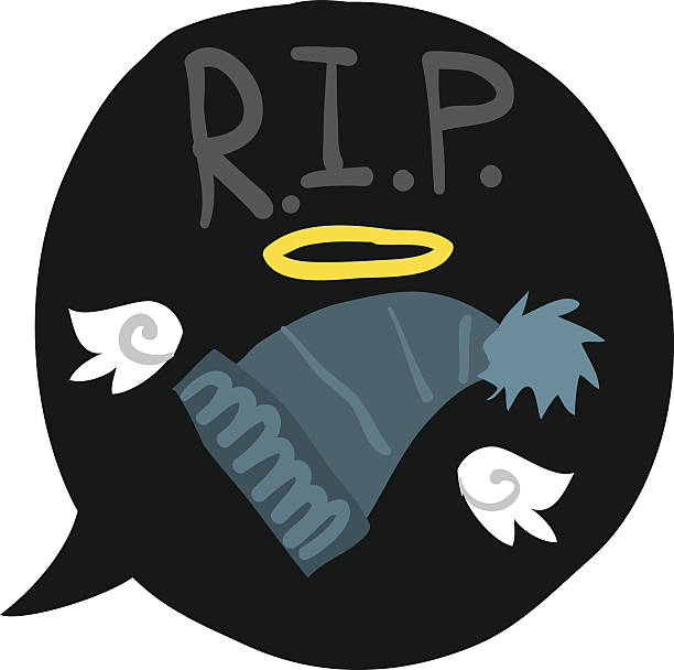Cartoon rest in peace hat bubble. vector art illustration