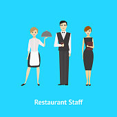 Cartoon Restaurant or Cafe Staff Man and Woman Card Concept Element Flat Design Style. Vector illustration of Worker People