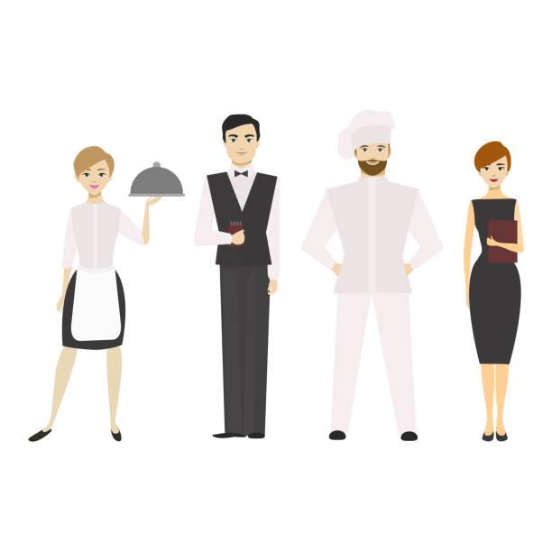 illustrazioni stock, clip art, cartoni animati e icone di tendenza di cartoon restaurant staff man and woman. vector - organizzatore della festa