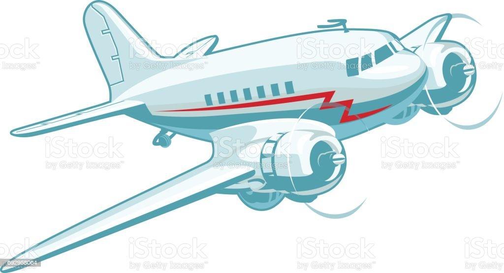 Ilustración de Dibujos Animados Retro Avión y más banco de imágenes ...