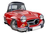 Cartoon retro car. Available eps-10 vector format separated by groups with transparency effects for one-click repaint