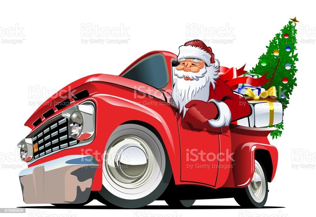 Cartoon Retro Christmas Pickup Stock Illustration ...