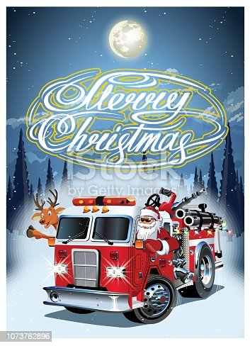 Cartoon retro Christmas poster with firetruck, Santa Claus. Available eps-10 vector format separated by groups and layers for easy edit