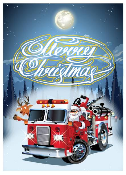 Cartoon retro Christmas poster with firetruck and Santa Claus Cartoon retro Christmas poster with firetruck, Santa Claus. Available eps-10 vector format separated by groups and layers for easy edit fire engine stock illustrations