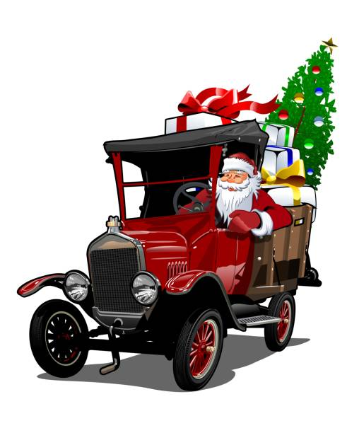 Best Vintage Red Truck Christmas Illustrations, Royalty ...