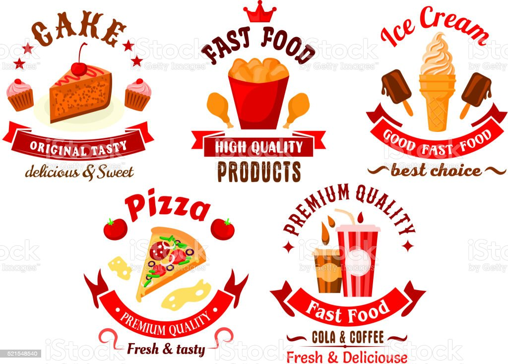 Cartoon Retro Fast Food And Pastry Symbols Stock Vector Art More