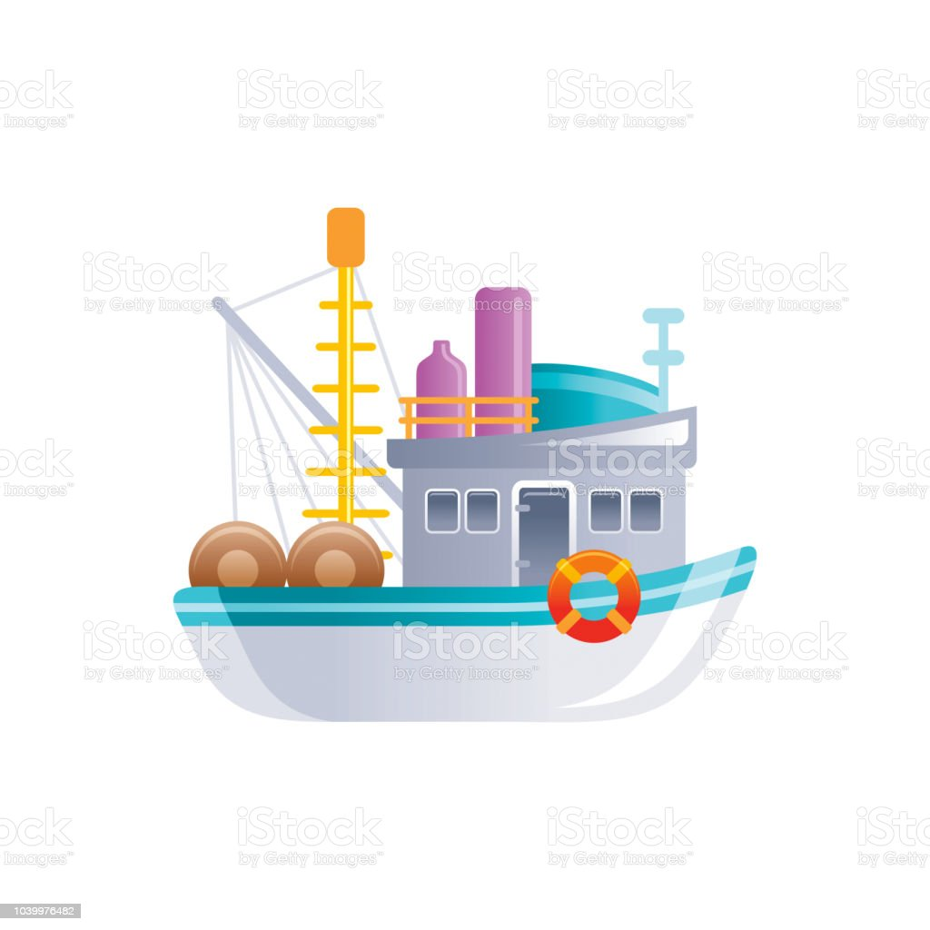 Ilustración De Icono De Bppoat De Pesca Retro De Dibujos Animados
