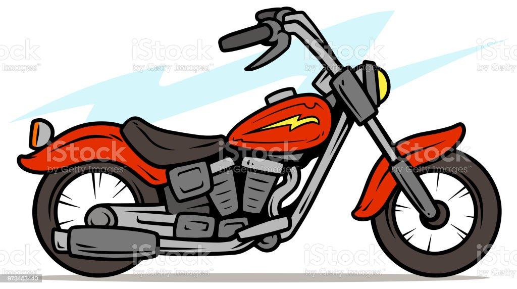 ilustração de desenhos animados retrô vermelho moto e mais banco de
