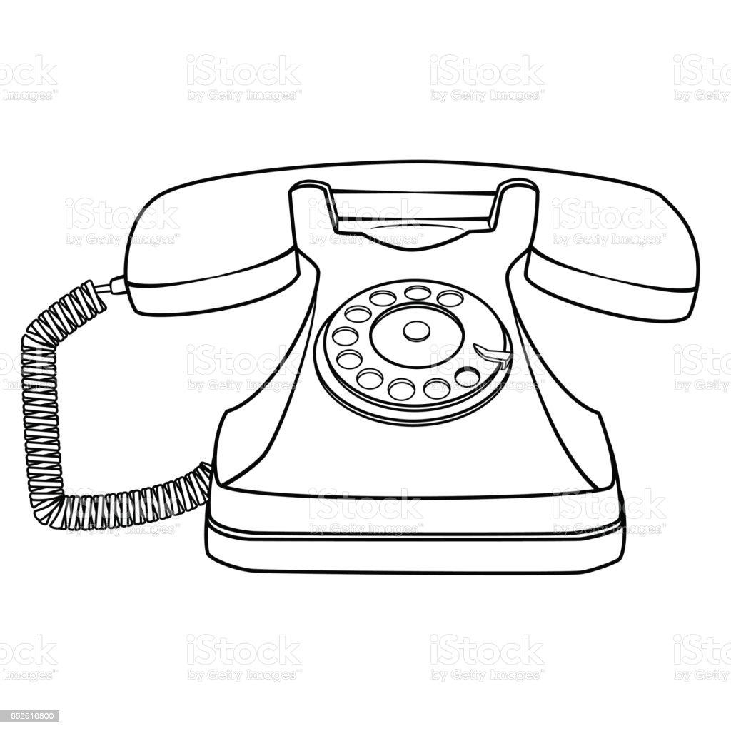 cartoon retro rotary telephone stock vector art amp more
