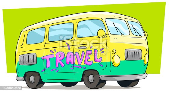 Cartoon yellow retro van bus with text label Travel on green background. Vector icon.