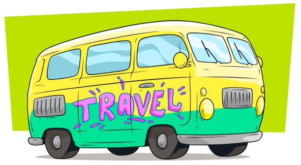 cartoon-retro-van-bus mit beschriftung reisen - vans stock-grafiken, -clipart, -cartoons und -symbole