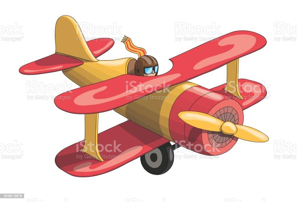 Cartoon Retro Vintage Plane Eps10 Vector Format Stock ...
