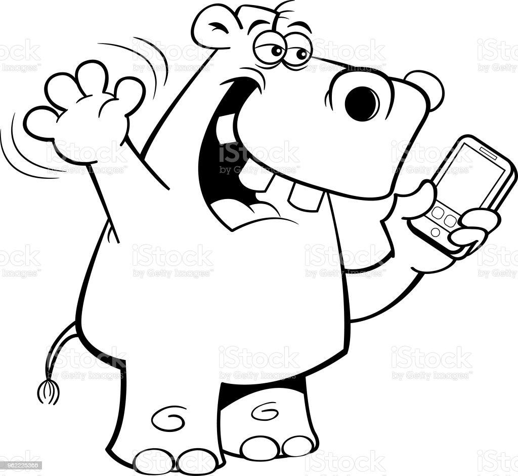 Cartoon Nashorn Hält Ein Handy Stock Vektor Art Und Mehr Bilder Von