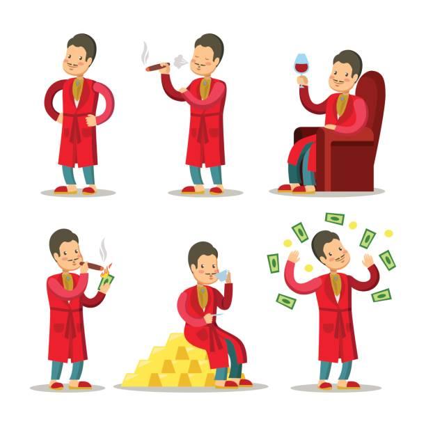 cartoon rich man with money and cigar - old man smoking cigar stock illustrations, clip art, cartoons, & icons