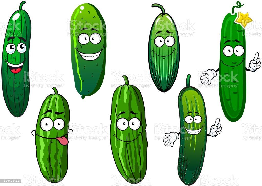 Cartoon ripe green organic cucumber vegetables vector art illustration