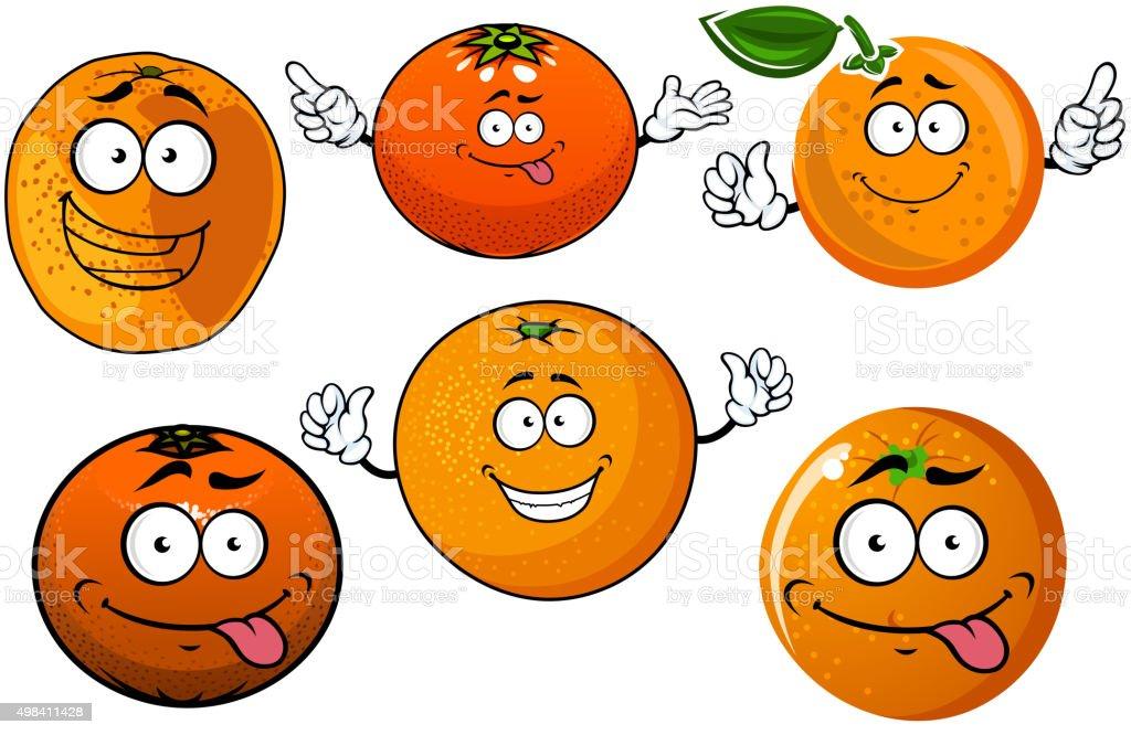 Cartoon ripe juicy orange fruits characters vector art illustration