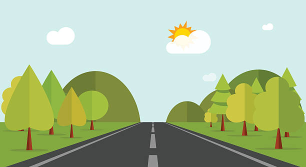 Cartoon road across green forest hills, mountains, nature landscape, highway vector art illustration